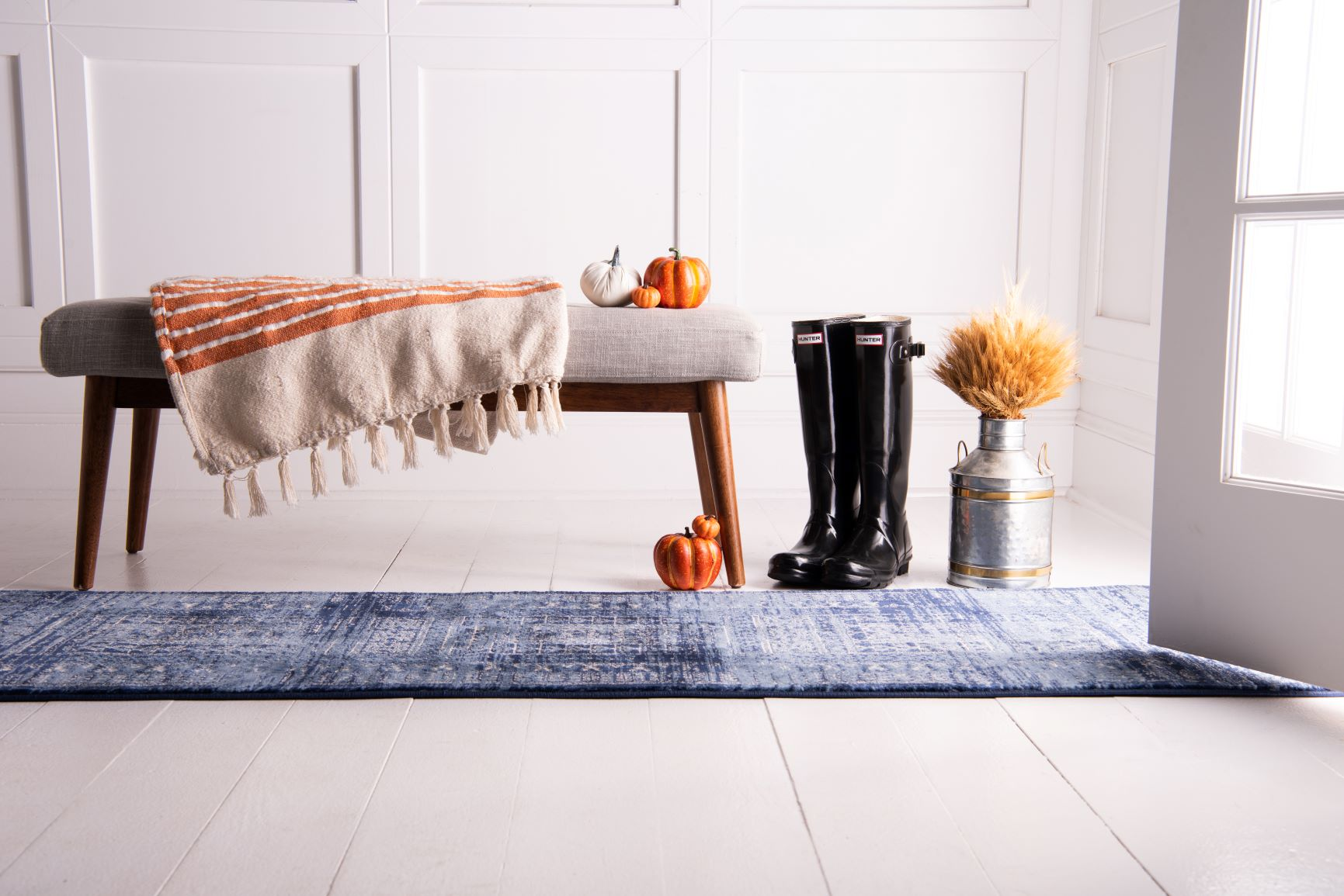 Kennedy runner rug with fall decor