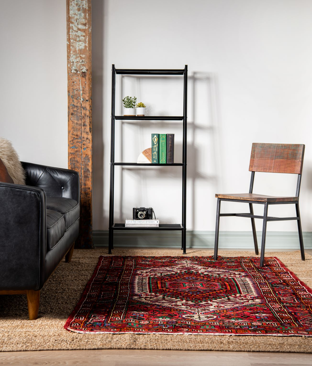 Example of layered rugs in living room