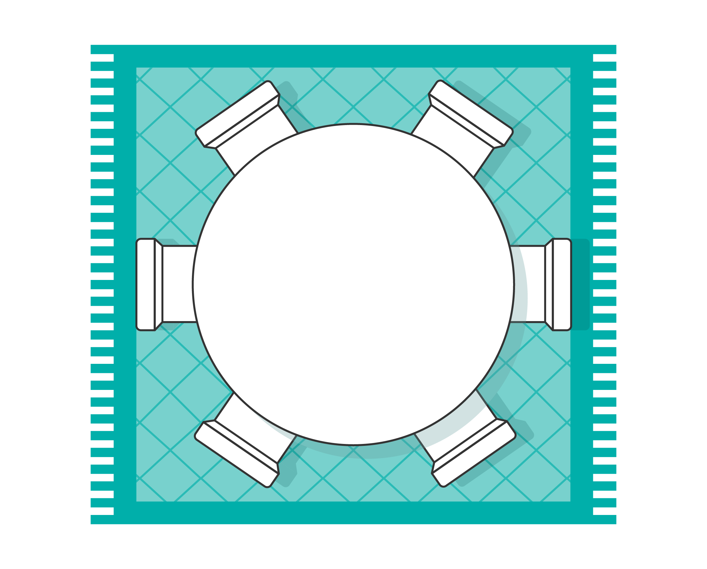 Dining room rug layout with round table