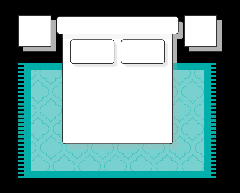 Bedroom rug partially under bed