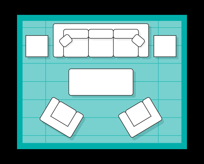 Living room rug floating layout