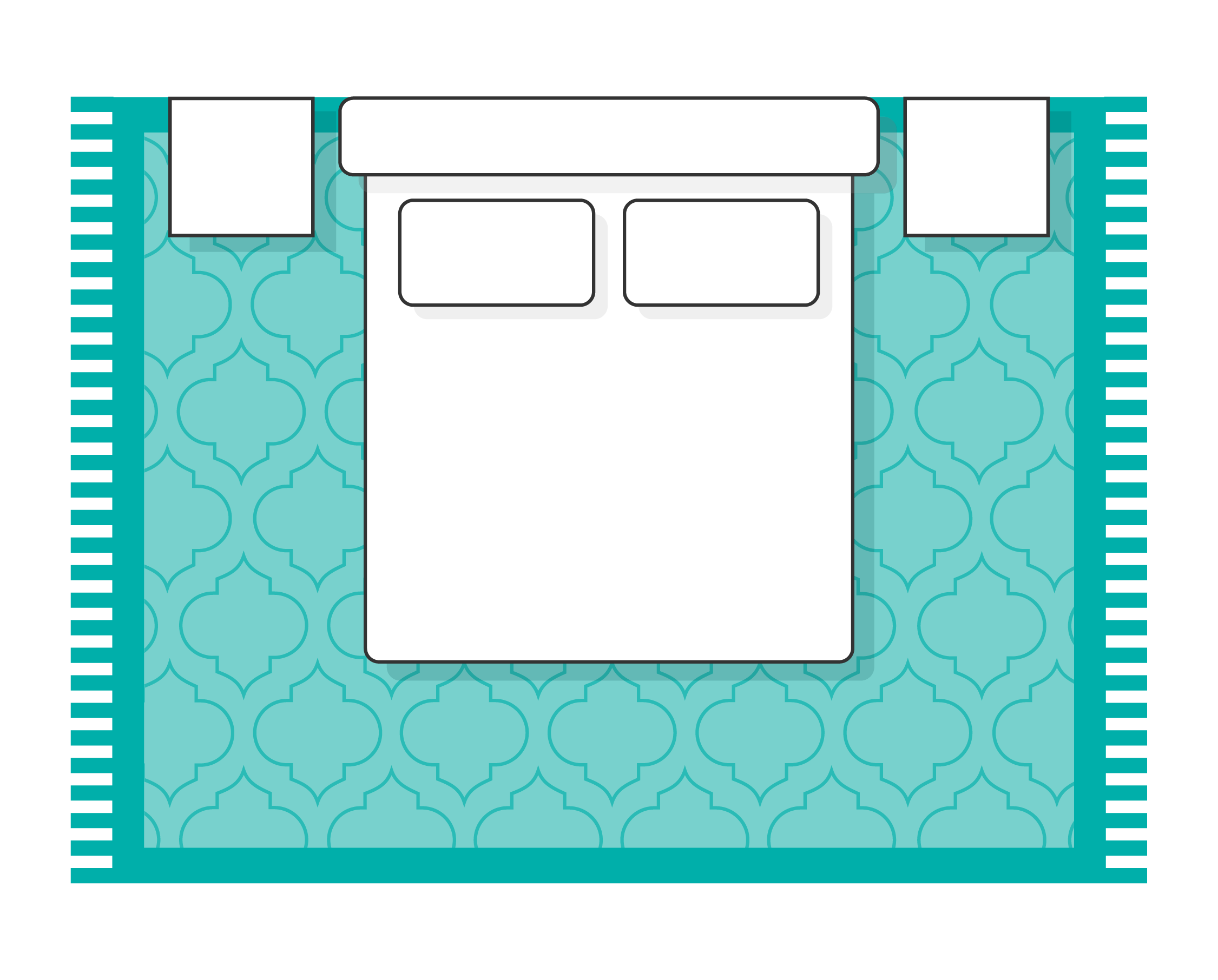 Bedroom layout with all legs on rug