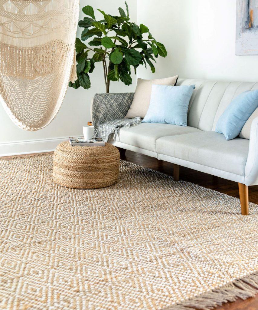 Braided jute coastal style rug in living room