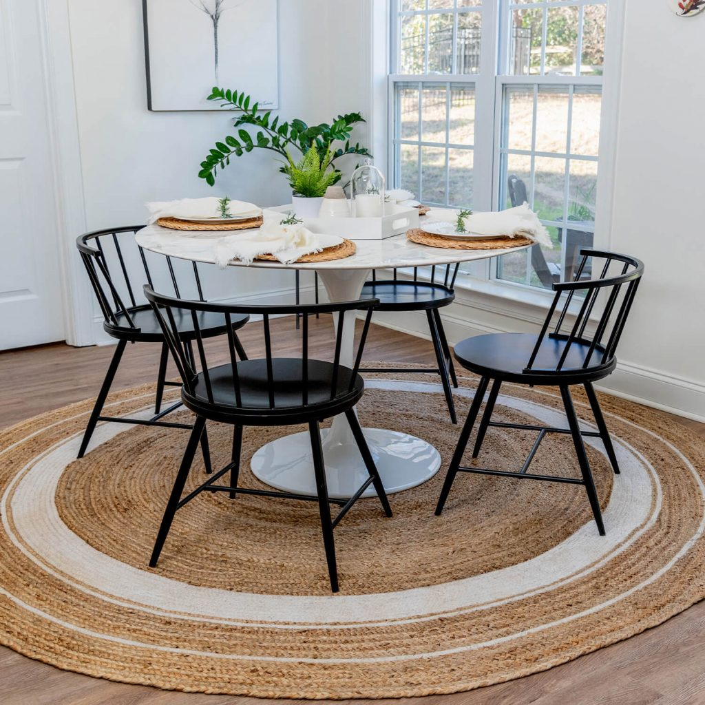 dining room with natural modern style rug