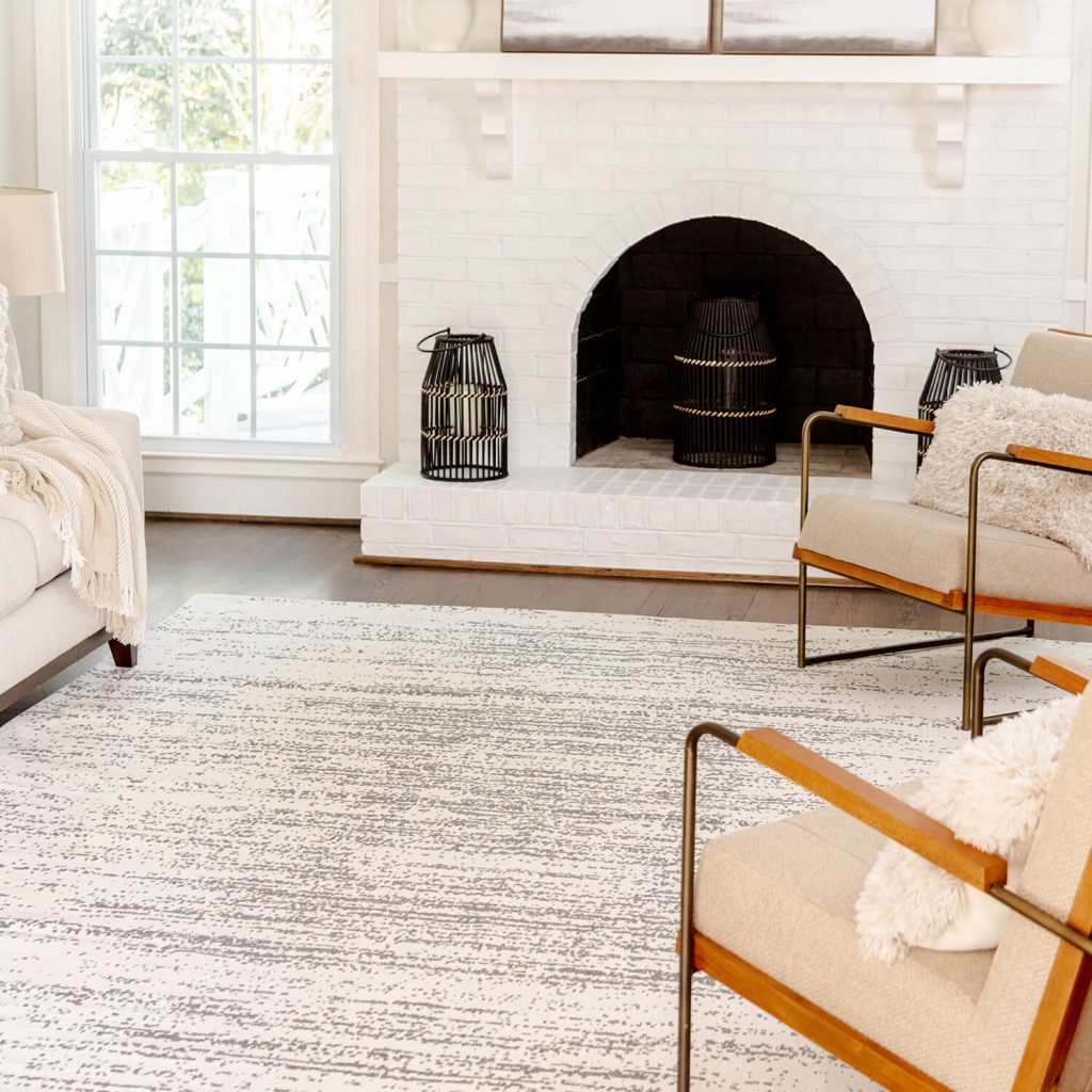 living room with modern style rug
