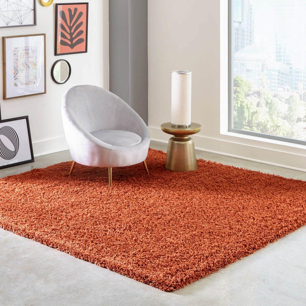 Orange shag fall rug