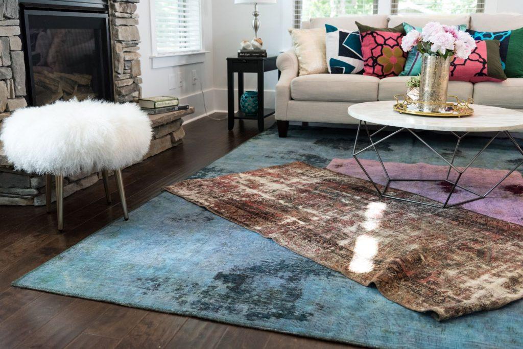 layered vintage rugs