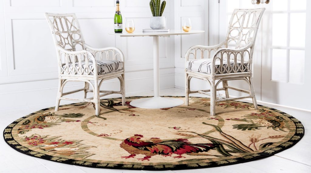 Farmhouse style rug in breakfast nook