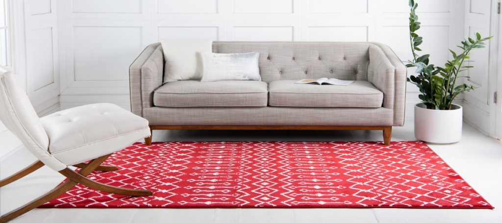 Candy cane colored holiday rug