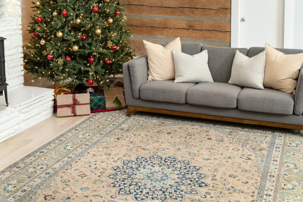 Overdyed Persian holiday rug
